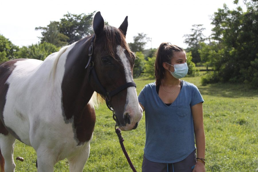 Female+student+wearing+a+mask+next+to+a+horse+she+rides+as+an+extracurricular+activity.