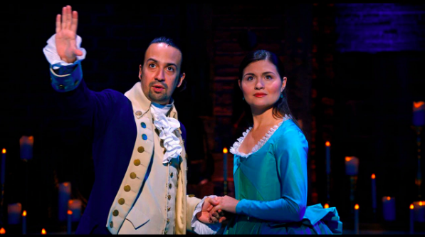 "Lin-Manuel Miranda and Philipa Soo acting as Alexander and Eliza Hamilton in the Disney Plus version of the Broadway show, ""Hamilton"". Photo courtesy of Disney Plus"