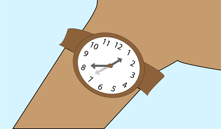 A graphic of an arm with a wristwatch showing the time of 8:05.