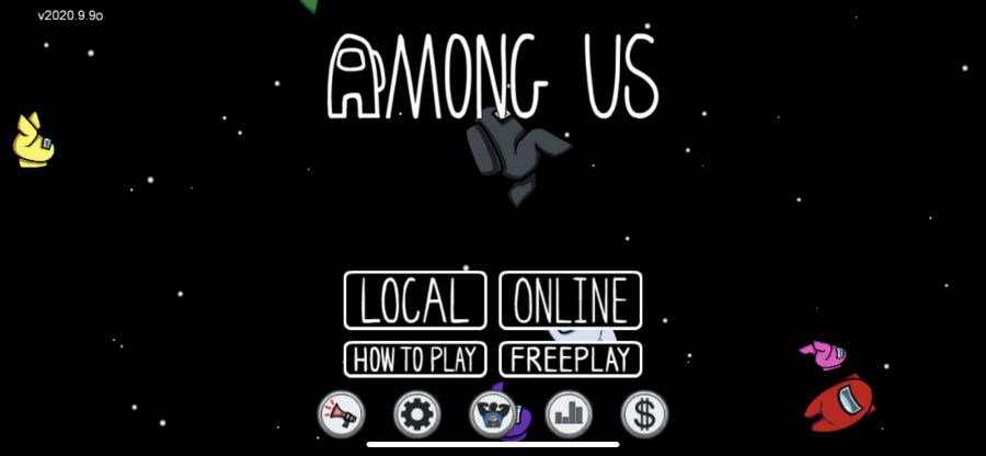 Among Us home page. You can choose between online and local. Tutorial on how to play and free play.