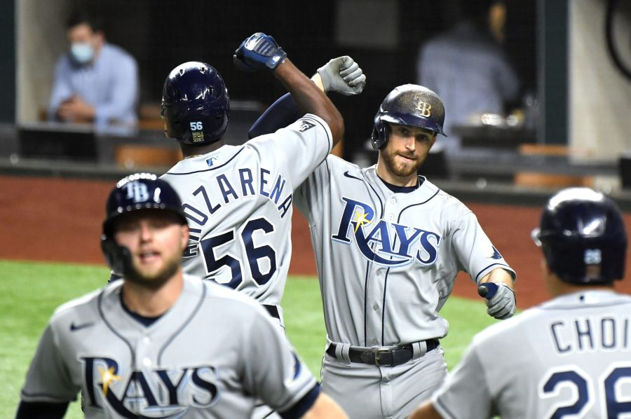The Tampa Bay Rays' Brandon Lowe celebrates one of his two home runs against the Los Angeles Dodgers in Game 2 of the World Series at Globe Life Field in Arlington, Texas, on Wednesday, Oct. 21, 2020. The Rays won, 6-4, to even the series. (Wally Skalij/Los Angeles Times/TNS)