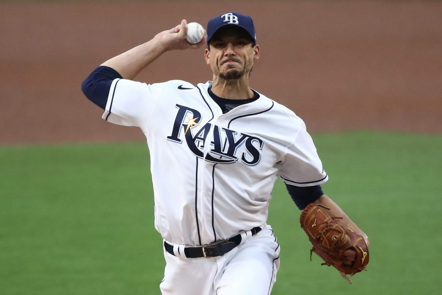 Tampa Bay Rays pitcher Charlie Morton throws against the Houston Astros during Game 7 of the American League Championship Series at Petco Park in San Diego on October 17, 2020. (Sean M. Haffey/Getty Images/TNS)
