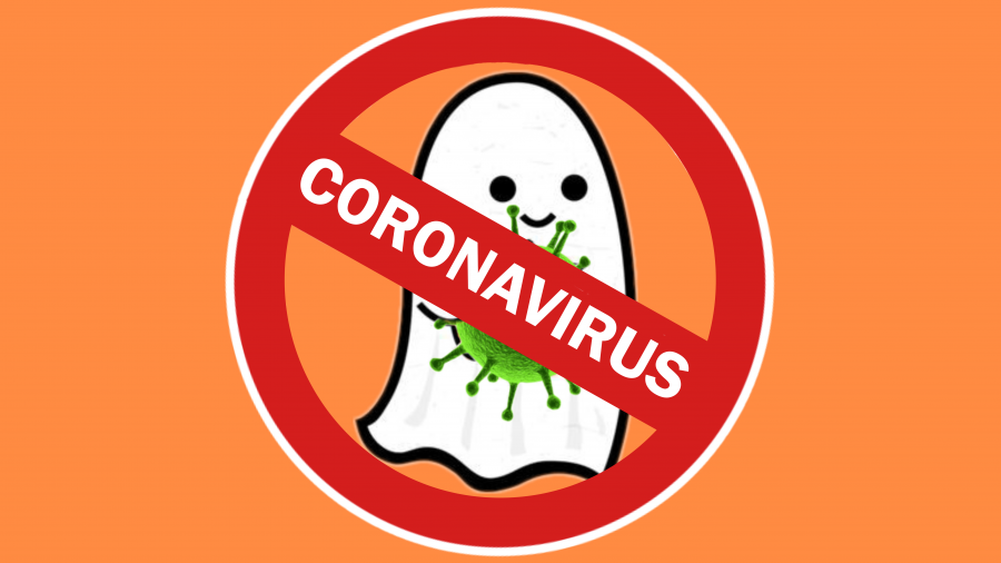 Graphic of a ghost with a COVID-19 germ, and a red circle crossing through the ghost with the word Coronavirus across it.