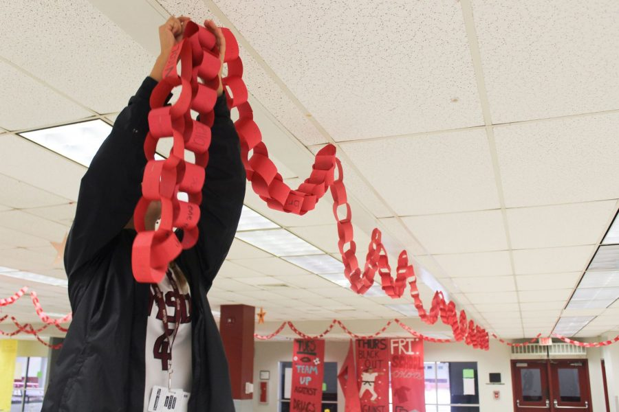 During the 2019-2020 school year, MSD staff starts hanging up pieces of red paper linked together, called the Chain of Life. It was located in the cafeteria.