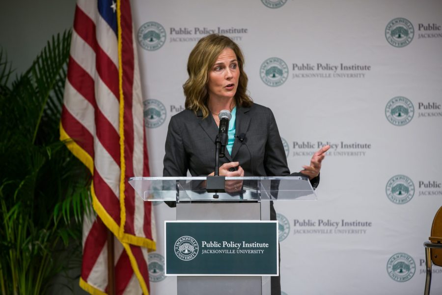 Amy Coney Barrett spoke at Jacksonville University in November 2016 about the future of the U.S. Supreme Court. Four years later, Barrett was appointed to the Supreme Court. [Photo provided by Jacksonville University]