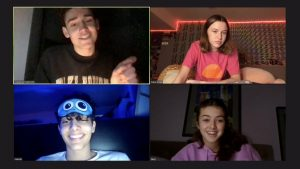 We're Live. Hamzah, Haley Sharpe, and Claire Drake laugh while Chase Rutherford makes jokes during