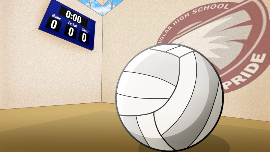 Volleyball sits in the front of the gym's scoreboard waiting for it to be picked up from the players.
