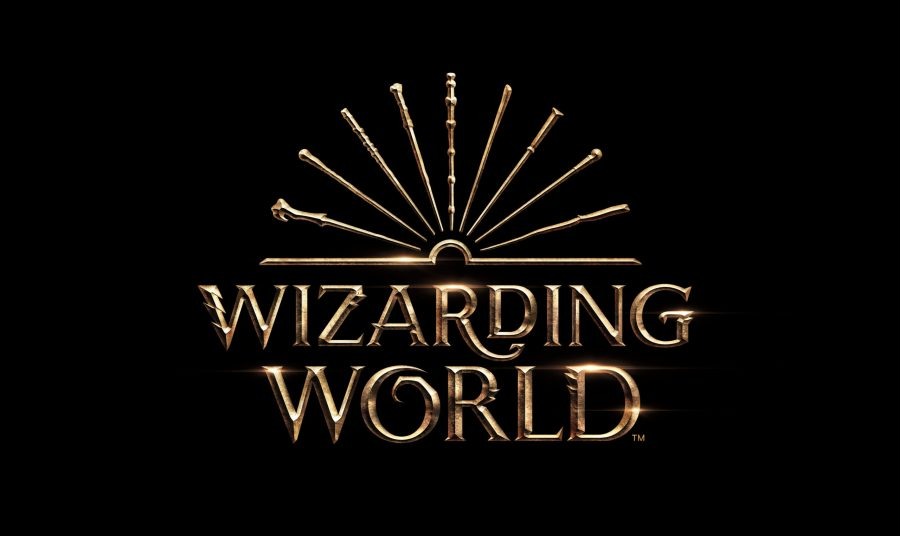 The Wizarding World logo depicts an open book, which is a nod to the franchise's literary origins. The book's fanned-open