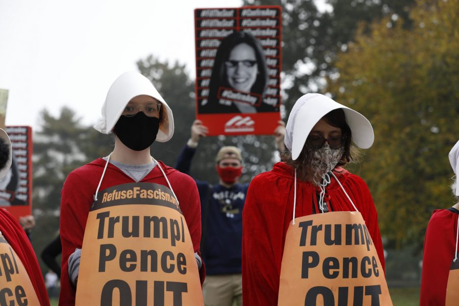 Protesters and supporters U.S. Supreme Court nominee Judge Amy Coney Barrett rally during a Senate Judiciary Committee meeting on Capitol Hill in Washington on October 22, 2020. (Yuri Gripas/Abaca Press/TNS)