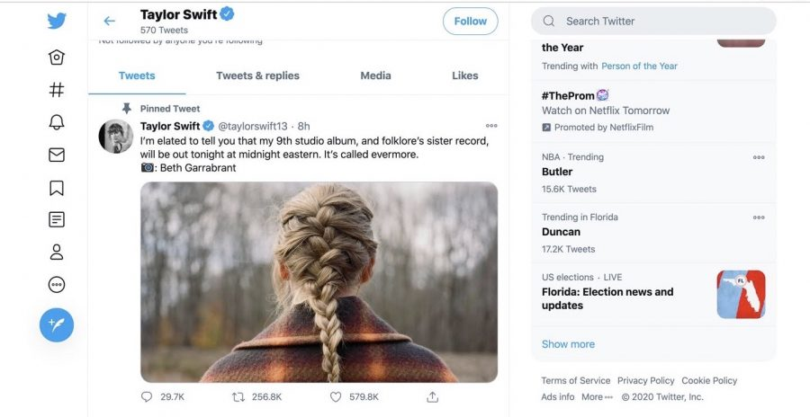 Taylor Swift tweets on twitter the big news that her album Evermore is coming on Dec. 10 at midnight.