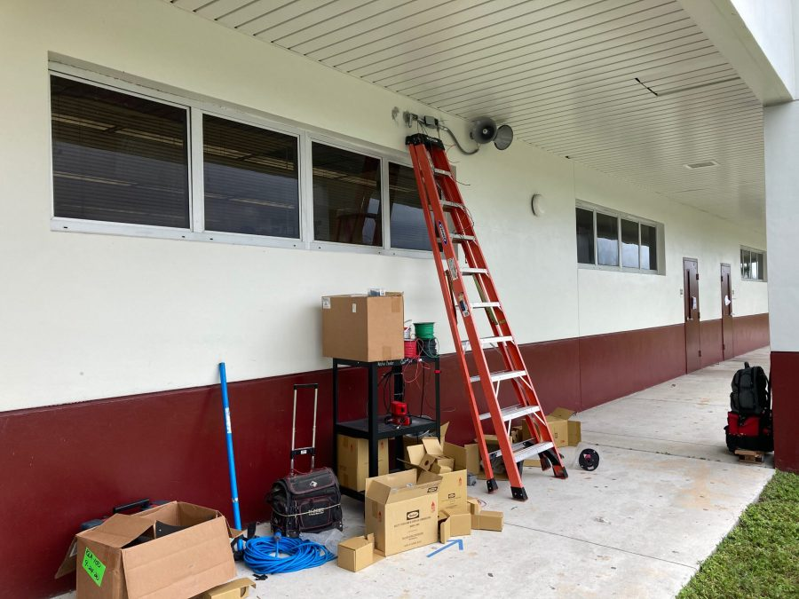 Administration begins installing outdoor speakers on campus buildings. These speakers will aide in alerting students and staff to any announcements made while people are outdoors. Photo courtesy of Dr. Jacob Abraham