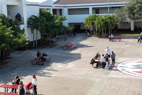 students sit outside in courtyard for lunch