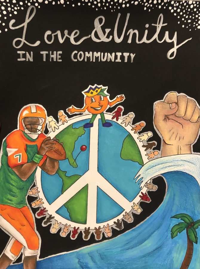 Natalie's award winning contest artwork features earth, peace signs, athletes, people, a hand, as well as a quote and the Orange Bowl mascot.