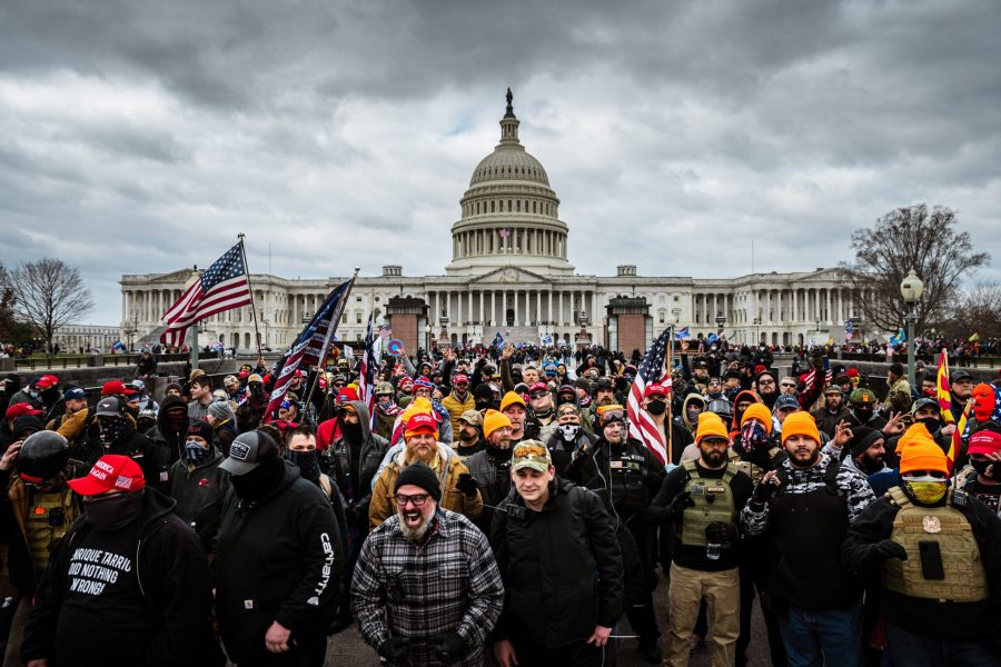 WASHINGTON, DC - JANUARY 06: Pro-Trump protesters gather in front of the U.S. Capitol Building on January 6, 2021 in Washington, DC. A pro-Trump mob stormed the Capitol, breaking windows and clashing with police officers. (Photo by Jon Cherry/Getty Images/TNS) ** OUTS - ELSENT, FPG, CM - OUTS * NM, PH, VA if sourced by CT, LA or MoD **
