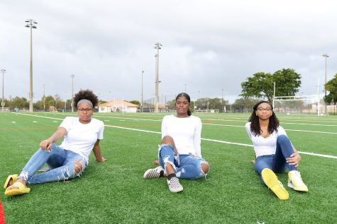 """From left to right, MSD sophomores Jada Lemy, Roveschney Veillard and Nesya Small have started a nonprofit organization called """"People of Change."""" Photo courtesy of Jamal Lemy"""