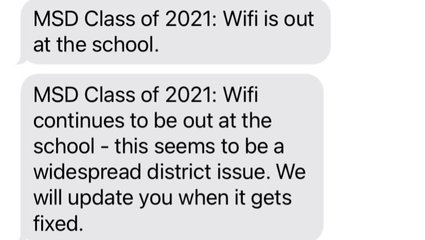 MSD students experienced spotty WiFi on Monday, Jan. 4. Students and parents were updated throughout the school day via Remind. Photo by Isabelly Silveira