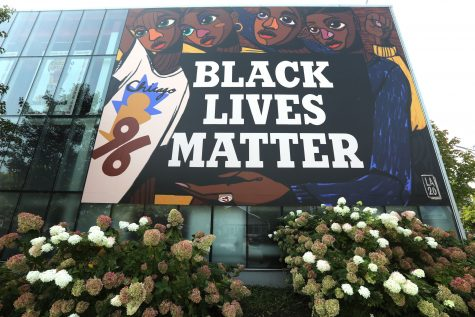 Black Lives Matter mural in front of the Bulls training facility, Advocate Center, in Chicago, September 23, 2020. Large enough for everyone passing West Madison Street to see, the mural was created by artist Langston Allston. (Antonio Perez/Chicago Tribune/TNS)