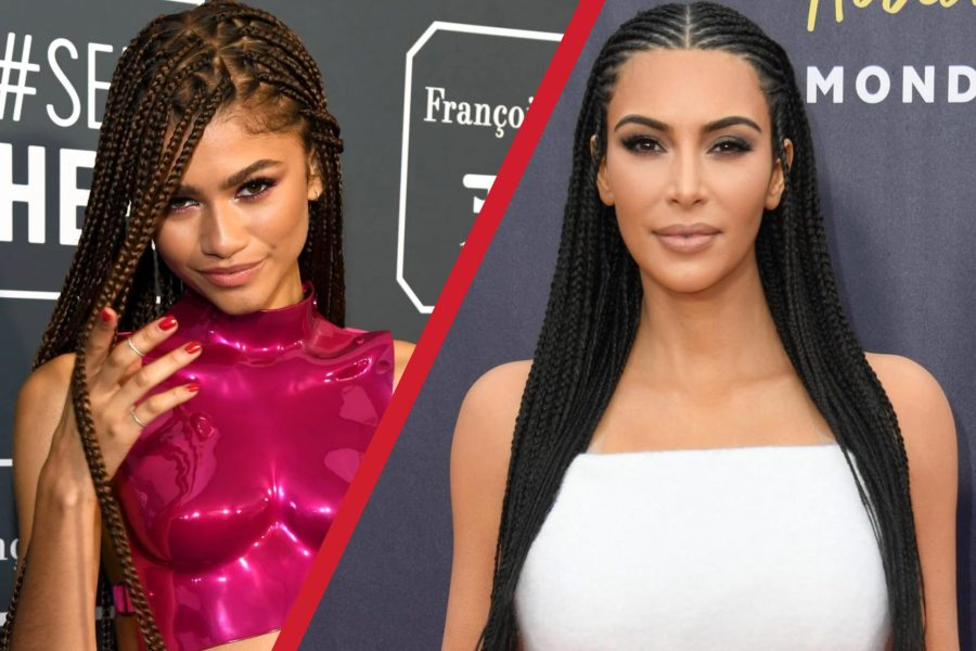 Zendaya Coleman and Kim Kardashian side by side donning hairstyles typically seen in the Black community. Photo illustration by Melodie Vo