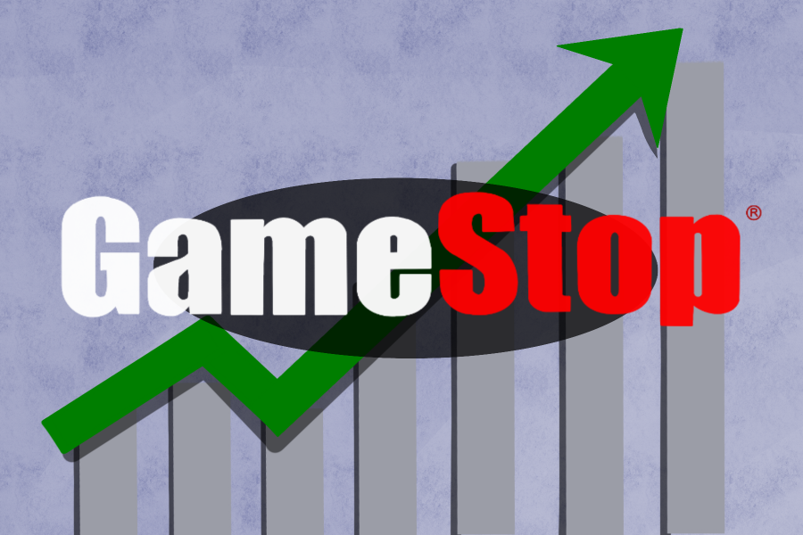 The stock price of Gamestop (GMC) skyrocketed, shocking MSD students. Graphic by Brianna Jesionowski