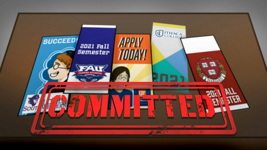Seniors have begun to commit to colleges for the Fall 2021 semester. Graphic by Julia Landy