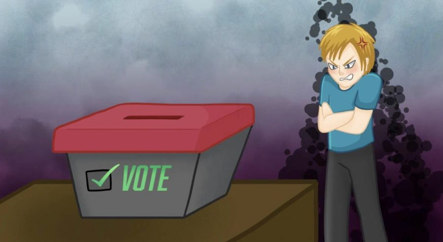 Standing behind a voting box an angry teenager is angry due to not being able to vote. This is a common experience for ages 16 and 17 as they cannot share the voices through voting.