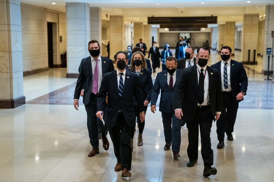House impeachment managers, led by Lead Manager Rep. Jamie Raskin, D-Md., walk to a news conference in the U.S. Capitol Building on Saturday, Feb. 13, 2021, in Washington, D.C. (Kent Nishimura/Los Angeles Times/TNS)