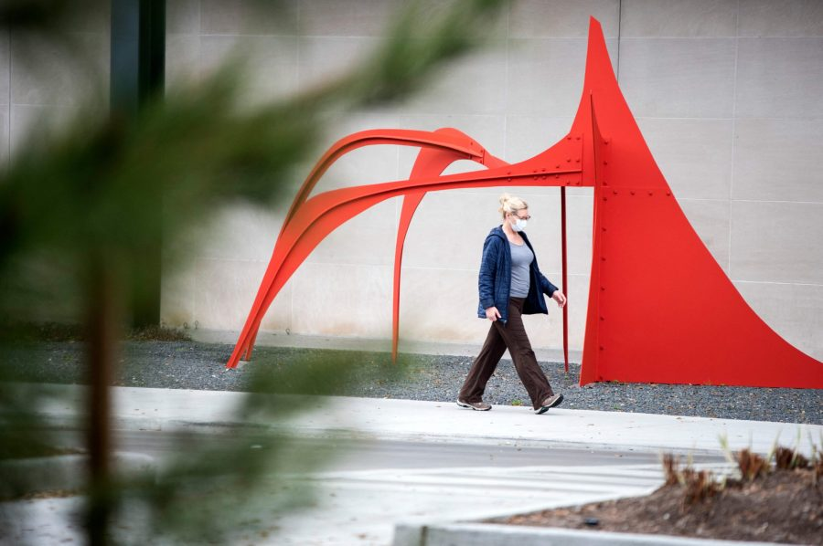 A woman walks past a sculpture in the Museum District in Houston, Texas on March 10, 2021. Texas statewide mask mandate has ended as of March 10, 2021. Businesses are also now allowed to operate at full capacity as long as the hospitals in their region haven't been treating a large share of patients for Covid-19. Gov. Greg Abbott announced he was loosening those restrictions so businesses and families in Texas have the freedom to determine their own destiny. (Mark Felix/AFP via Getty Images/TNS)