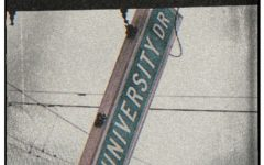 A road sign labeled as University Drive.