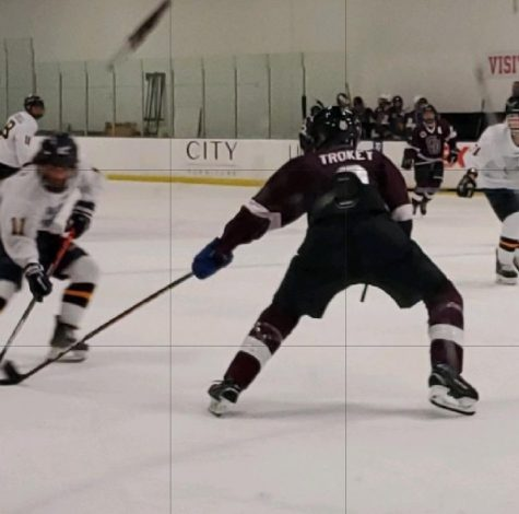 Junior Chris Trockey attempting to steal the puck from his opponent. Photo courtesy of Chris Trockey
