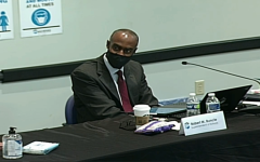 Superintendent Robert Runcie during the special school board meeting where he and school board lawyer Barbara Mynick announced their intentions to resign. Photo courtesy of the Broward County School Board