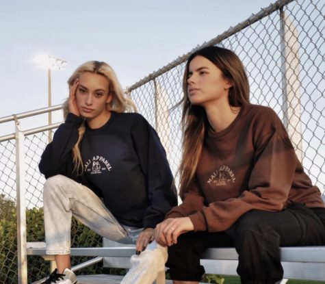 Mali Apparel co-founders Maria Anzurez and Mariana Jimenez modeling their custom sweaters. Photo courtesy of Mali Apparel
