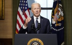 President Joe Biden speaks from the Treaty Room in the White House on Wednesday, April 14, 2021, about the withdrawal of the remainder of U.S. troops from Afghanistan. (Andrew Harnik/Pool/Abaca Press/TNS)