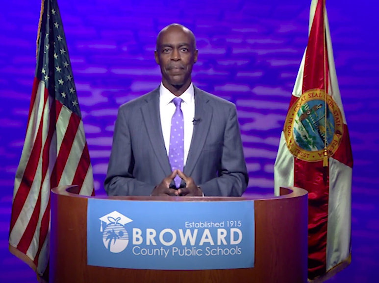 Broward County Public Schools Superintendent Robert Runcie announces 2021-2022 learning plans via school board platform Becon-TV.