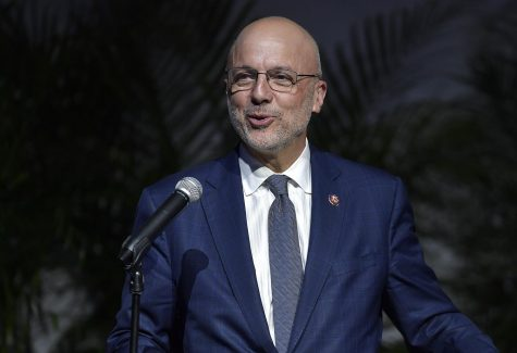 U.S. Congressman Ted Deutch speaks as Wilton Manors celebrates the life of Mayor Justin Flippen, Friday, March 6, 2020 (Michael Laughlin/South Florida Sun Sentinel)