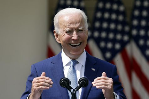 President Joe Biden in the Rose Garden of the White House in Washington, D.C., on April 8, 2021. Photo courtesy of Yuri Gripas/Abaca Press/TNS