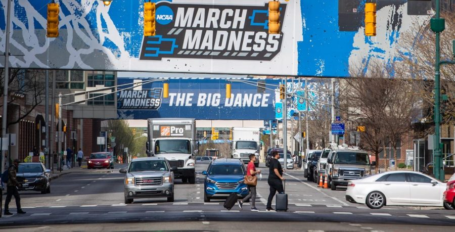 Fans begin packing up and leaving Indianapolis on Tuesday, April 6, 2021, after the completion of the NCAA March Madness tournament. Photo courtesy of TNS