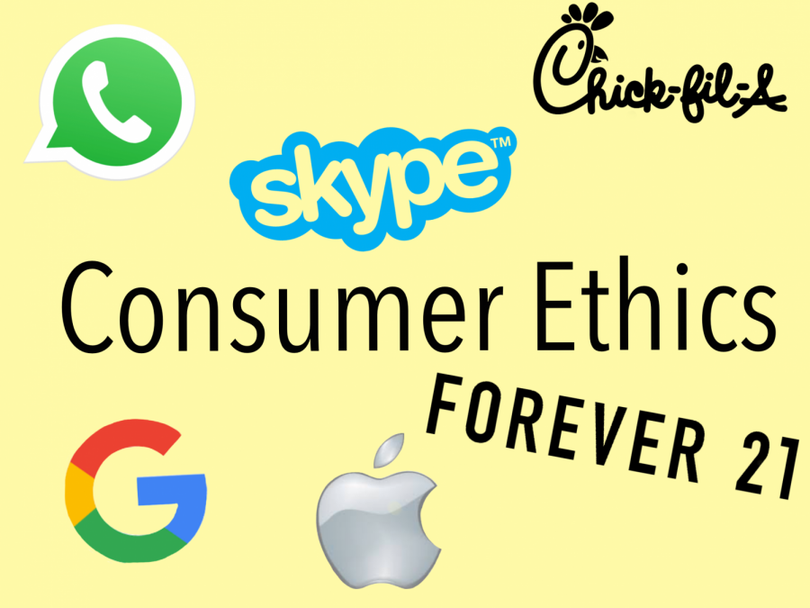 Companies such as Chick-Fil-A, Google, and Forever 21 have made their political beliefs public. Consumers are deciding whether or not they want to support those companies. Graphic by Rayne Welser