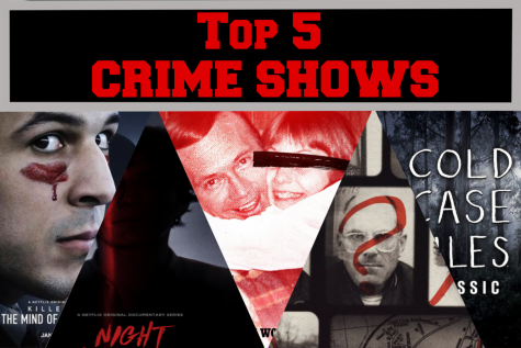 The top five crime shows are all streaming on Netflix. These shows engages the audiences interests of all types of crimes. Graphic by Madison Lenard.
