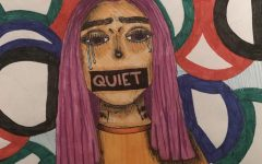Drawing of crying girl with tape over her mouth saying