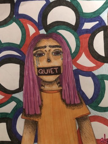 """Drawing of crying girl with tape over her mouth saying """"quiet"""""""