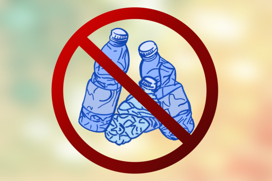 Plastic water bottles release harmful toxins into large bodies of water, negatively affecting marine wildlife. In order to preserve the environment, many believe plastic water bottles should be banned. Graphic by Madison Lenard