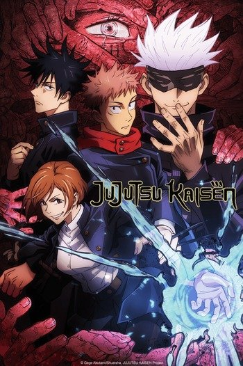 """Welcome to wizarding school. Curses, or evil demons manifested from negative energy, surround Yuji Itadori (center), Megumi Fushiguro (top left), and Nobara Kugisaki (middle left), students at Tokyo Jujutsu High, and their teacher Satoru Gojo (top right). In the anime Jujutsu Kaisen, Yuji Itadori sought a """"proper death"""", or unregretful life for those around him, as he faced human hostility towards his status of being possessed by a Curse and violence from Curses themselves."""