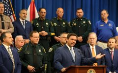 Gov. Ron DeSantis holds a press conference at the Polk County Sheriff's Office, on Monday, April 19, 2021. The governor signed into law a new riot bill, surrounded by law enforcement, legislators and police union representatives. Photo courtesy of Ricardo Ramirez Buxeda/ Orlando Sentinel/TNS
