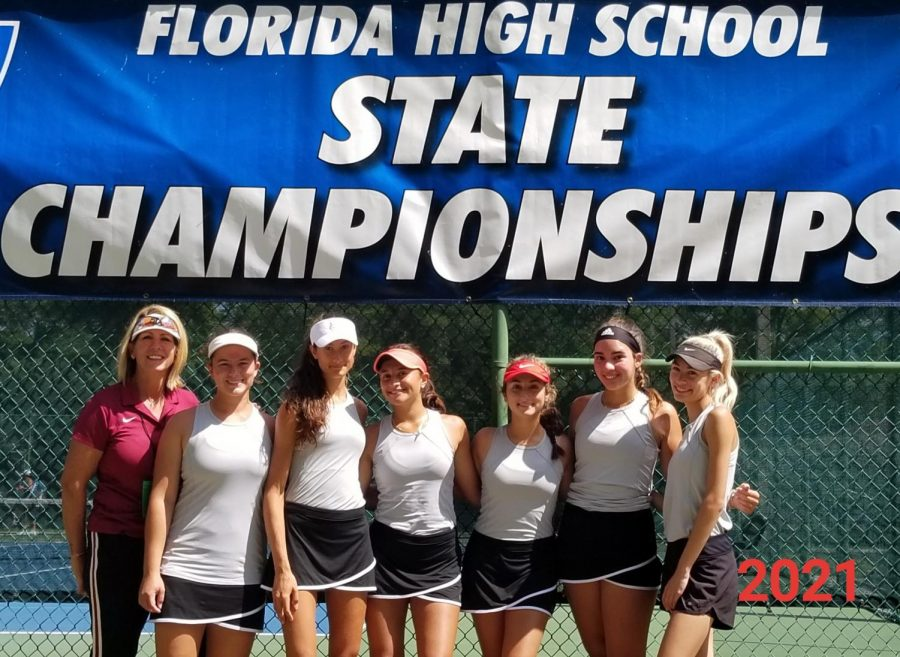 Coach Amy Pena and players Amanda Aponte, Tania Dumke, Maria Anzures, Manoela Ford and Daniella Tamim pose for a picture before the start of the FHSAA State Championships. The team traveled to Altamonte Springs to compete on April 28-30 and lost in the semi-final round. Photo courtesy of Amy Pena