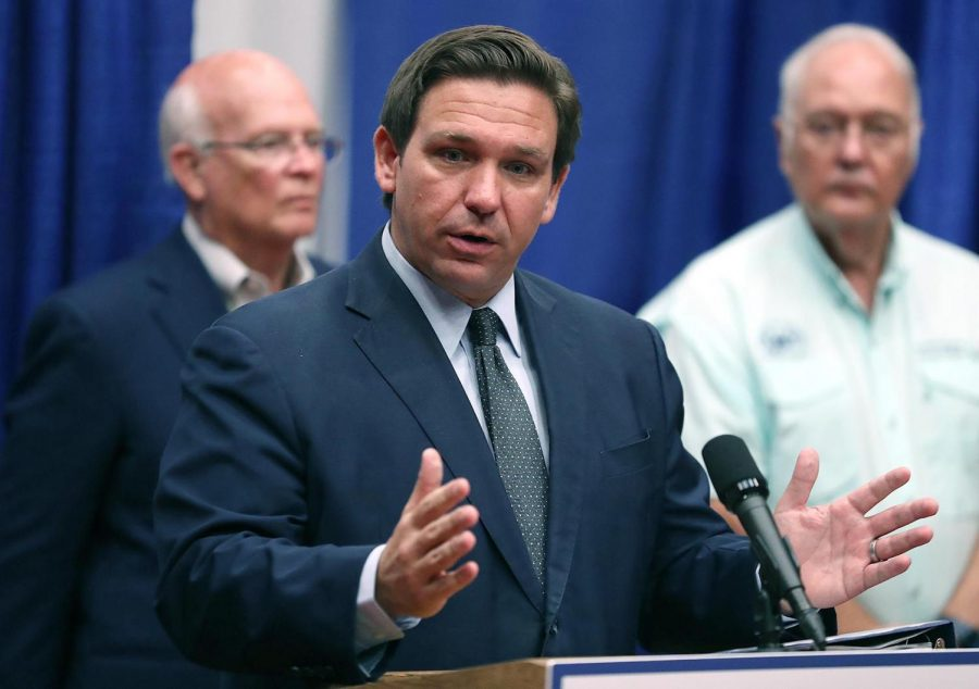 Florida Gov. Ron DeSantis speaks at a Monoclonal Antibody Treatment center at the Barnstorm Theater in The Villages on Wednesday, August 25, 2021. The center is one of many for treatment of COVID-19. DeSantis answered several media questions about school mask mandates following the press conference. Photo courtesy of Dreamstime/TNS.