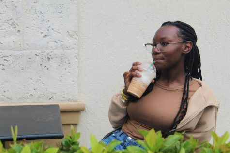 Morgan McCalla enjoys one of Starbuckss new fall drinks. Some of the new flavors include the Pumpkin Spice Latte, Pumpkin Cold Brew and Pumpkin Frappuccino, Latte and Macchiato.