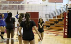 Junior Isabel Gonzalez sets up the ball for her fellow teammates to slam against the Hollywood Hills Spartans. The Eagles ended up winning the match 3-0.