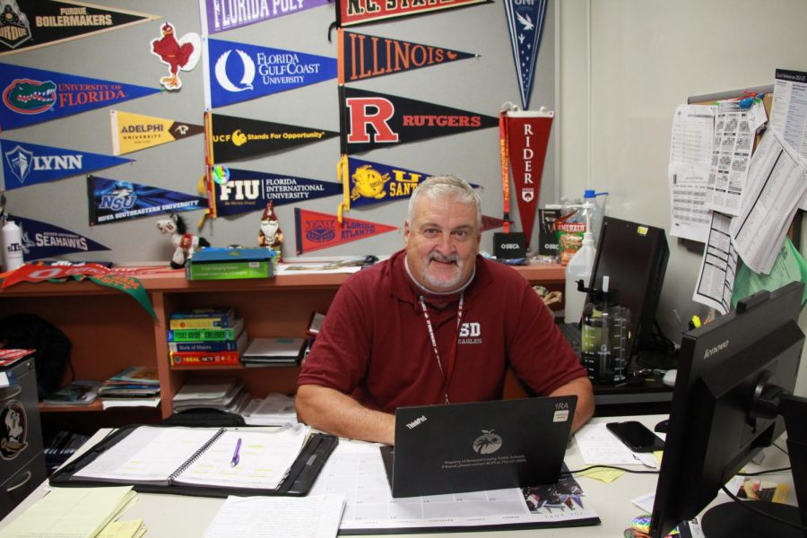 B.R.A.C.E. advisor Randy Congdon takes a break from planning college-related events for the students.