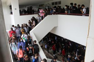 Pack the Halls. Students navigate hallways and staircases during the transition between 2nd and 3rd period on Aug. 26, 2021. With 3,570 students on campus, congested hallways are a daily occurrence.