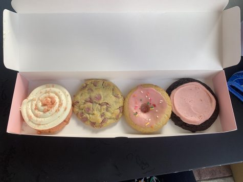 Caring Cookies. Crumbl puts out weekly cookies. The new flavors this week were Pink Velvet, Pink Doughnut, Chocolate Strawberry Cheesecake, and Ruby Chocolate Chip.